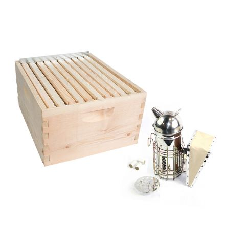 GoodLand Bee Supply GL-1BK-TK2 Beekeeping Beehive Brood Complete Kit includes Frames, Foundations, Spacer & Smoker