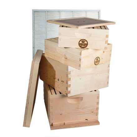 Goodland Bee Supply GL4STACK Double Deep Brood Box and Double Super Box 4 Tier Beginners Beehive Kit With Beehive Frames and Foundations