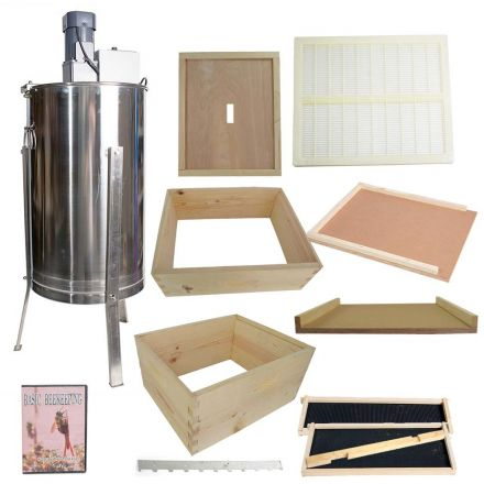 Goodland Bee Supply GL-2BK2SK-QEX/ER Beekeeping Complete 4 Tier Beehive Kit includes 2 Frame Electric Honey Extractor, Frames, Foundations, Brood Box, Super Box, Inner Cover, Entrance Reducer, Top and Bottom