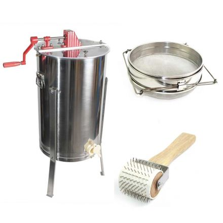 Goodland Bee Supply GL-E2-UR/STR Beekeeping Complete Beehive Kit includes 2 Frame Manual Honey Extractor, Decapping Roller & Double Sieve Honey Strainer