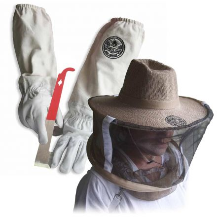 GoodLand Bee Supply GL-GLV-JHK-VL-MED Sheep Skin Beekeeping Protective Gloves with Canvas Sleeves and Beekeeping Hat Includes Round Veil - Medium & J-Hook Beehive Scraper Tool