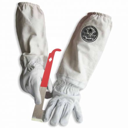 Goodland Bee Supply GL-GLV-JHK-XLG Natural Cotton and Sheepskin Beekeeping Gloves & J-Hook Hive Tool (X-Large)