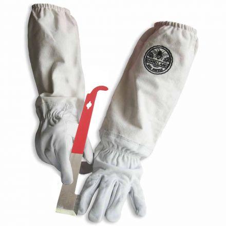 Goodland Bee Supply GL-GLV-JHK-MED Natural Cotton and Sheepskin Beekeeping Gloves & J-Hook Hive Tool (Medium)