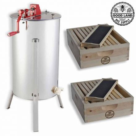 Goodland Bee Supply GL-E2-2S 2 Bee Hive Frame Honey Extractor with 2 Complete Super Beehives