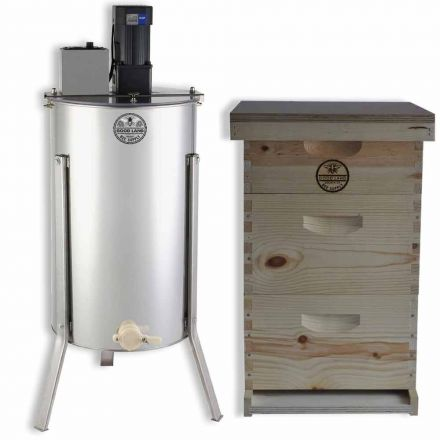 Goodland Bee Supply GL-E2M-2BK1SK Complete 3 Tier Bee Hive Kit Including Electric 2 Frame Honey Extractor. Bee Foundations and Frames, Inner Cover, Telescoping Top, Hive Bottom and Excluder Included