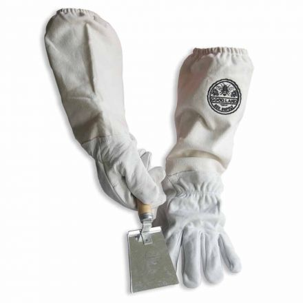 Goodland Bee Supply GL-GLV-SHVL-MED Natural Cotton and Sheepskin Beekeeping Gloves & Honey Comb Shovel Hive Tool (Medium)