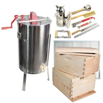 Goodland Bee Supply GLBSE4STACKCTS1 Beekeeping Beehive Kit includes 2 Frame Manual Honey Extractor, Metal Queen Excluder, Frames, Foundations, Brood Box, Super Box, Spacer, Entrance Reducer, Top and Bottom