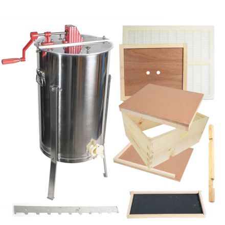 Goodland Bee Supply GLE1STACK Single Beehive Brood Box & Two Frame Manual Honey Extractor Kit