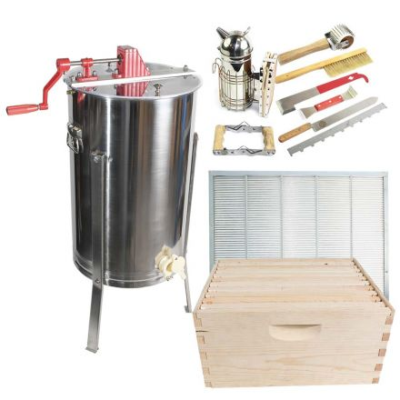 Goodland Bee Supply GLESUPERX2CTS1 Beekeeping Beehive Kit includes 2 Frame Manual Honey Extractor, Metal Queen Excluder, Frames, Foundations, Super Box & Spacer